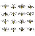 set flat linear bees logos vector image vector image