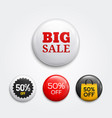 set glossy sale buttons or badges vector image