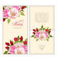 set greeting card with bouquet flowers vector image
