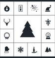 set of winter icons simple christmas elements vector image