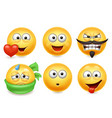 smiley face icons funny faces 3d collection 3 vector image