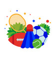sports equipment soccer and tennis balls vector image