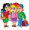 three happy school kids vector image