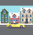 traveling car in winter passing old town street vector image vector image