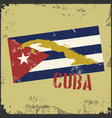 vintage style cuba map cuba flag vector image