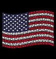 waving united states flag stylization of cloud vector image vector image