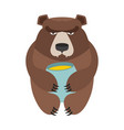 bear and honey barrel cute wild animal and food vector image