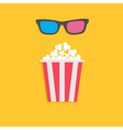 3D glasses and big popcorn Cinema icon in flat dsi vector image vector image