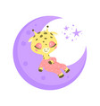 a cute cartoon giraffe sleeping vector image