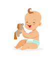 adorable happy baby in a diaper sitting and vector image vector image