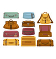 baggage backpack and handbag suitcases luggage vector image vector image