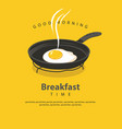 banner for breakfast with fried egg on frying pan vector image vector image