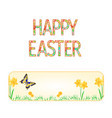 banner happy easter spring flowers narcissus vector image