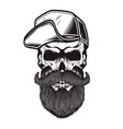 Bearded skull in baseball cap in engraving style