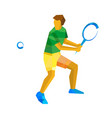 big tennis player isolated on white background vector image vector image