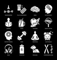 biohacking silhouette icons set in flat style vector image vector image