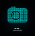 camera - pixel icon on black vector image