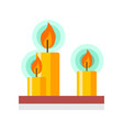 candles with flame flat simple vector image vector image