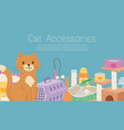 cat care accessories and food cartoon vector image vector image