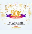 celebrating 50k followers with color bright ribbon vector image vector image