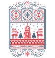 christmas scenery with reindeer chapel vector image vector image