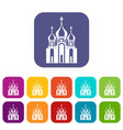 church building icons set vector image vector image