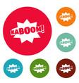 comic boom kaboom icons circle set vector image vector image