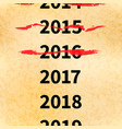 crossed out years in 2017 calendar conceptual vector image
