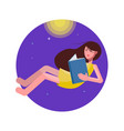 cute girl is reading a book vector image vector image