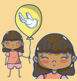cute girl with balloon vector image