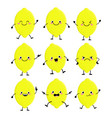 cute lemon characters set with different emition vector image vector image