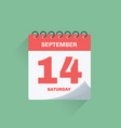day calendar with date september 14 vector image vector image