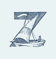 decorative capital letter z marine ancient style vector image vector image