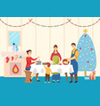 family cooking dishes for christmas table vector image vector image