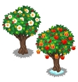 Festively decorated trees with glowing garland vector image vector image