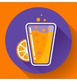 Flat ice tea drink icon Orange juice glass vector image vector image