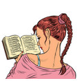 girl student reading a book vector image