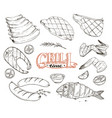 grille meet and fish vector image vector image