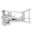 hand drawn sketch of room on vector image
