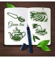 Hand drawn sketch tea set vector image vector image