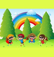 kids playing hero in the park vector image vector image