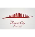 Kuwait City V2 skyline in red vector image vector image