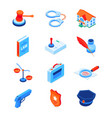 law and justice - modern isometric icons set vector image