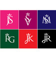 letter combination with crown logo vector image vector image