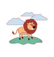lion cartoon in outdoor scene with clouds on vector image