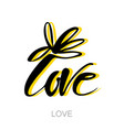 love flower lettering template vector image vector image