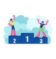 male characters sportsmen stand on win pedestal vector image