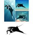 manta ray set vector image vector image