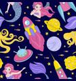 mermaid in universe cosmos princess seamless vector image vector image