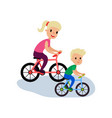 mom and son riding bikes sport family and vector image vector image